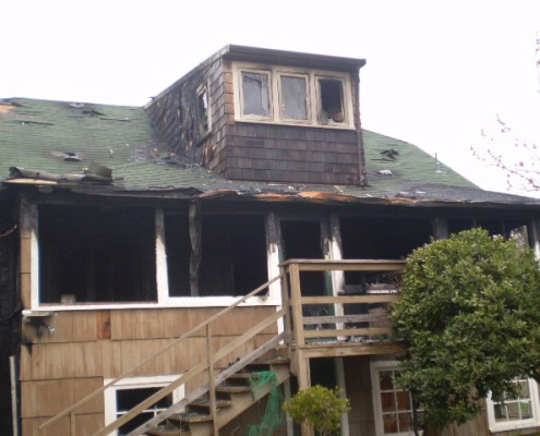 Fire damaged house in Sooke BC